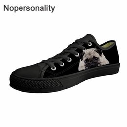 Lace Vulcanized Canvas Shoes Australia - Nopersonality Black Canvas Shoes Cute Pug Dog Prints Lace Up Vulcanized Shoes for Women Ladies Casual Flat Sneakers