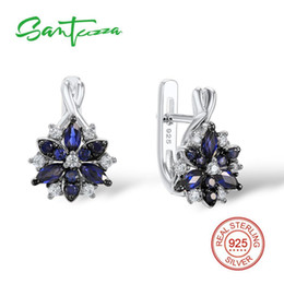 $enCountryForm.capitalKeyWord Australia - Santuzza Silver Stud Earrings For Women Blue Stone White Cubic Zirconia Ladies Pure 925 Sterling Silver Party Fashion Jewelry J190630