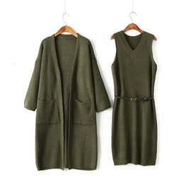 $enCountryForm.capitalKeyWord NZ - 2 Piece Set Women Long Sleeve Cardigan Knitted Dress Two Piece Sets Chothes Office Lady Army Green Twinset Romper Dress Suit