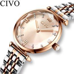 $enCountryForm.capitalKeyWord Australia - Civo Luxury Crystal Watch Women Waterproof Rose Gold Steel Strap Ladies Wrist Watches Top Brand Bracelet Clock Relogio FemininoMX190706