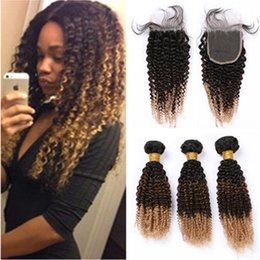 Honey brown Hair online shopping - B Ombre Kinky Curly Brazilian Human Hair Bundles with Lace Closure x4 Black Brown to Honey Blonde Tone Ombre Hair Weaves