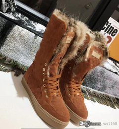 Warmest Boots Australia - 2018 Brand Furry Snow Boots Fur Suede Youth Snow Boot Warm Anti-Skid Skiing Winter High Cut Below Knee Flat Cotton Padded Shoes 02