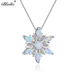 Pendant Pink oPal online shopping - Blaike Sterling Silver Snowflake Pendants For Women Pink Blue White Fire Opal Necklaces Rainbow Stone Birthstone Choker Gift