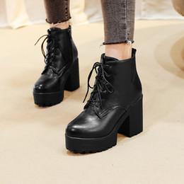 $enCountryForm.capitalKeyWord Australia - YMECHIC 2018 Punk Chunky Block High Heel Winter Women Shoes Black Beige Brown Platform Rock Lace Up Goth Ankle Motorcycle Boots