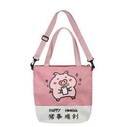 7d8dd815c12e 2019 Canvas Shoulder Bag Women Pig Print Crossbody Bag Teenager Girls Tote Cartoon  HandBag Bolso Mujer Women Messenger Bags