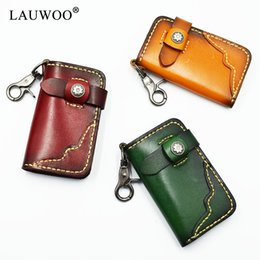 vintage leather car key holders NZ - Leather Vintage Men Genuine Holder Leather Car Key Key Wallet Keychain Men Housekeeper Women Car Case Bag Organizer