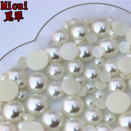 Flatback Half Pearls Australia - Micui 300PCS 6mm 8mm 10mm Round imitation Pearl ABS Resin Half Pearls Flatback Beads For Jewelry Clothes Crafts Decoration ZZ214