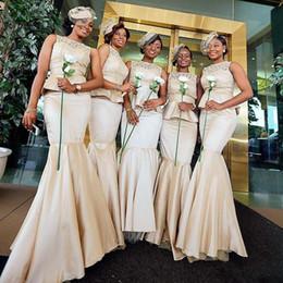 Gold Lace Peplum Dress Australia - Jewel Lace Top Mermaid Bridesmaid Dresses 2019 Champagne Custom Peplum Custom Vestidos De Bridesmaid Party Gowns Honor Of Maid Cheap