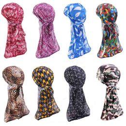 $enCountryForm.capitalKeyWord Australia - Fashion Men's Silky Satin Bandana Headwear Men Printed Wigs Turban Hat Doo Biker Headband Pirate Hat Hair Accessories