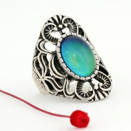Hot Bar Australia - new Popular Womens Hot Sale Real Silver Plated Ring 12 Color Change Mood Oval Stone Ring MJRS013