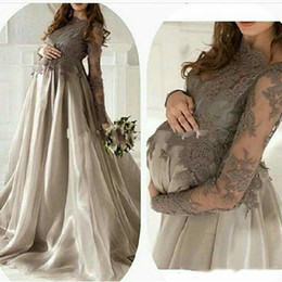 $enCountryForm.capitalKeyWord Australia - 2019 Maternity Long Sleeves Dresses Evening Wear Jewel Lace Applique Organza A Line Plus Size Pregnant Women Prom Formal Gowns Gray