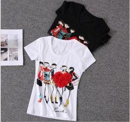 7549724c8 Al por mayor-tops de mujer Apliques Corazón rojo camiseta mujer Mujer manga  corta Estampado poleras de mujer camisas femininas 2016 Rhinestone Tops