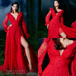 $enCountryForm.capitalKeyWord NZ - Red Evening Dresses Lace V Neck A Line Chiffon Sweep Train Long Sleeves Prom Dress Sexy Side Split Custom Made Special Occasion Gowns