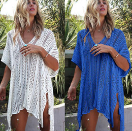 mini bikini tops NZ - New Europe Women's Prevent Bask Tops Dress Bikini Smock Transparent Beach Crochet Dress Lady Hollow Out Knitted Dresses C41712