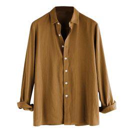 simple shirt blouse 2019 - Men Shirt 2019 High Quality Long Sleeve Shirts Casual Button Turn-Down Collar Slim Fit Top Simple Wild Men's Soild