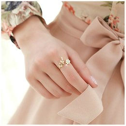 $enCountryForm.capitalKeyWord Australia - Temperament Rhinestones Twisted Leaves Wishful Flowers Open Ring Index Finger Ring Unisex Rings
