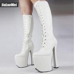 Discount black queen cosplay - White Man 20cm High Heel 9cm Platform Boots Women Sexy Fetish Stilettos Cross-tied Patent Leather knee-high boots Drag Q