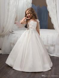 $enCountryForm.capitalKeyWord Australia - 3 4 Sleeves 2019 Flower Girl Dresses For Weddings Ball Gown Satin Lace Beaded Baby Long First Communion Dresses For Little Girls