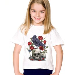 ae7cb732 Fashion Print Rose Flower Skull Bird Children T-shirts Kids Summer Short  Sleeve Tees Boys Girls Casual Tops Baby Clothes,HKP2133