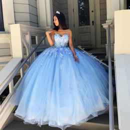Wholesale sweets bones for sale – custom Sky Blue Simple Sexy Lace Quinceanera Prom Dresses Sweetheart Beaded Hand Made Flowers Tulle Evening Party Sweet Dress ZJ306