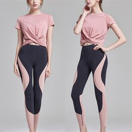 hip yoga clothes Australia - Sexy Ladies Yoga Clothing New Ladies Set Solid Color Loose Navel Short Sleeve T-shirt High Quality Cotton High Elastic Hip Tight Yoga Pants