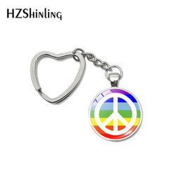$enCountryForm.capitalKeyWord Australia - 2019 Fashion Peace Love Hippie Sign Design Heart Keychains Hippie Sign Design Style Hand Craft Key Chain Gifts Keyring