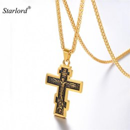 Discount russian jewelry - Orthodox Cross Necklace Stainless Steel Gold  Black Cross Charm Jesus of Nazareth King Calvary Jewelry For Russian GP323