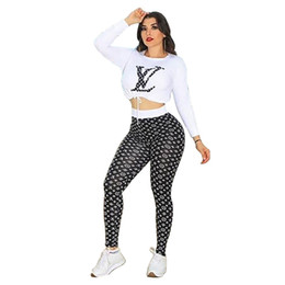 Crop hoodies wholesale online shopping - Designer Women Crop Top Leggings Outfits Piece Set Jogging Suit Sportswear Hoodies Tights Shirt Pullover Pant Tracksuit Fall Clothes