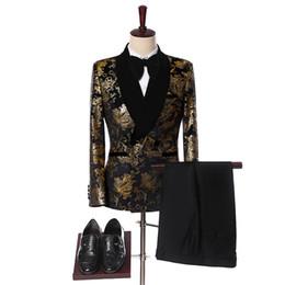 Men Prom Suits Champagne Gold Australia - 2019 Elegant Black Velvet Gold Flower Double Breasted Groom Tuxedo For Men Wedding prom Mens Suits With Pants Bridegroom C19041602