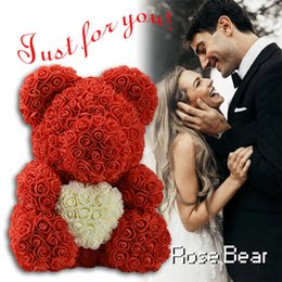 roses for women Australia - 2019 DropShipping 40cm with Heart Big Red Teddy Bear Rose Flower Artificial Decoration Christmas Gifts for Women Valentines Gift Y200104