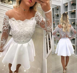 $enCountryForm.capitalKeyWord Australia - White Long Sleeves Cocktail Dresses 2019 A Line Short Mini Graduation Formal Club Wear Homecoming Prom Party Gowns Plus Size Custom Made