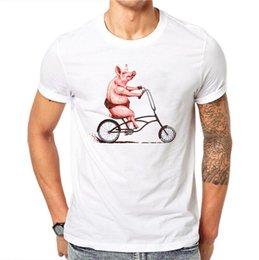 $enCountryForm.capitalKeyWord Australia - 100% Cotton Summer Men Novelty Pig Riding T Shirts Printed Tee Short Sleeve Man T-shirt O-neck Harajuku Male Tops Tees