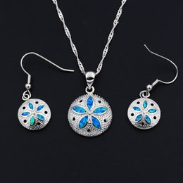 turtle earrings 2020 - Ocean Blue Collection Mermaid Sand Dollar Turtle Starfish Pendant Necklace and Earrings Jewelry Set cheap turtle earring