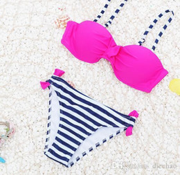 $enCountryForm.capitalKeyWord NZ - 2019 Europe And The United States Bikini New Triangle Split Swimsuit Candy Color Sexy High Elastic Lattice Strip Steel Support Chestless Pad