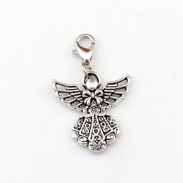 Guardian anGel jewelry online shopping - 100pcs Antique Silver Guardian Angel Floating Lobster Clasps Religion Charm Fit Charm Bracelet DIY Jewelry x39 mm A b