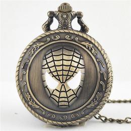 Spiderman necklaceS online shopping - 2019 New Vintage Spiderman Antique Pocket Watch With Chain Superhero Retro Bronze Flip Quartz Necklace Fob Clock Pendant For Men Women