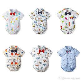 $enCountryForm.capitalKeyWord Australia - INS Toddler Baby Boys Gentleman Rompers Summer Short Sleeve Polo Turn-down Collar Cartoon Car Lion Dinosaur Printing Newborn Jumpsuits