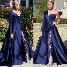 Modern proM suits online shopping - Sexy Arabic Dubai One Shoulder Prom Dresses Pant Suits A Line Royal Navy High Split Long Sleeve Jumpsuit Celebrity Dresses BC0282
