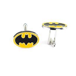 Superhero Shirts Wholesale Australia - Superhero Style Simple Black Enamel Batman Logo French Cufflinks For Mens Shirt Brand Cuff Buttons Vintage Cuff Links