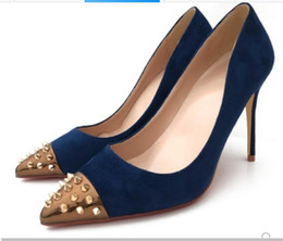 navy blue wedding pumps Canada - new navy blue Splicing rivet Suede Women's Red bottom High heel shoes 10cm large size 44 Cusp Fine heel Single shoes Nightclub wedding bride