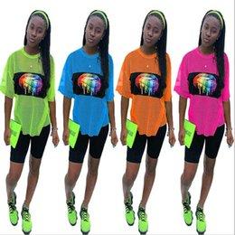 Orange lip online shopping - Women Summer Mesh Tracksuit Short Sleeve Rainbow Lips Print T shirt Shorts Piece Quick Dry Sportswear Jogging Outfits S XL C41603