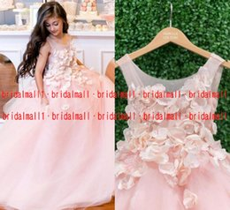 Red gold pageant dResses online shopping - 2019 Blush Pink Flower Girl Dresses With Hand Made Flowers Sheer Neck Child Birthday Party Little Girl Pageant Dresses Communion Formal Gown