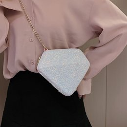 sequin bag wholesalers Canada - 2019 Women New Style Elegant Fashion Design Casual All-match Sequins Decoration Shoulder Cross body Bag Diamond Shape Pink Bag