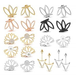 $enCountryForm.capitalKeyWord Australia - 10 Pairs Ear Jacket Stud Lotus Flower Earrings for Women and Girls Set for Sensitive Ears Simple Chic Jewelry