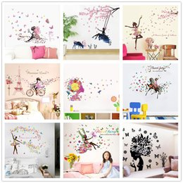 fairy stickers for girls bedroom Australia - % diy Romantic Flower Fairy Swing butterfly Wall Stickers Kids Room Wall Decor Bedroom Living Room Girls Room Decal Poster Mural
