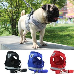 Reflective Cloth Wholesale Australia - Reflective Safety Pet Dog Harness and Leash Set for Small Medium Dogs Cat Harnesses Vest Puppy Chest Strap Pug Chihuahua Bulldog