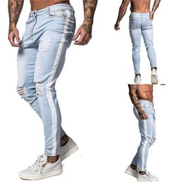 Wholesale mens skinny leg jeans resale online – designer Mens Light Colored Hole Jeans Casual Skinny Midrise Straight Leg Pants Male Designer Jeans
