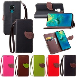 Banking Case Australia - Leaf Shape Flip Cell Phone Soft PU Leather Wallet Case Cover for Huawei Mate 20 with Bank Card Holder Strong Hand Strap