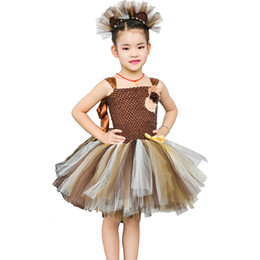 $enCountryForm.capitalKeyWord Australia - Brown Flower Girls Tutu Dress Children Cosplay Animal Lion Costume Dress Up Fancy Girl Kids Halloween Birthday Party Dress 1-14y J190505