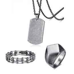 $enCountryForm.capitalKeyWord NZ - Mens Vintage Gray Jewelry Set Stainless Steel Dog Tag Pendant Necklace and Bike Chain Bracelet Quadrangle Flat-Top Signet Ring